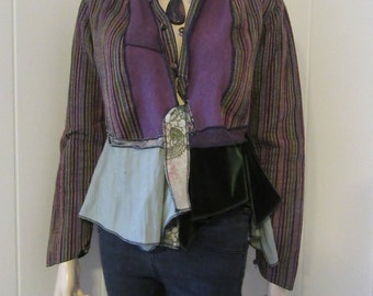 Boho Lagenlook Jacket Asymmetric Shawl Collar Front Ties Quilted Cotton Stripe Purple & Green Size S - M