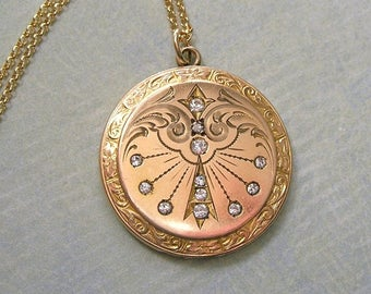 Antique Locket Necklace With Paste Stones, CQ&R Gold Filled Locket, Edwardian Locket, Gift For Her