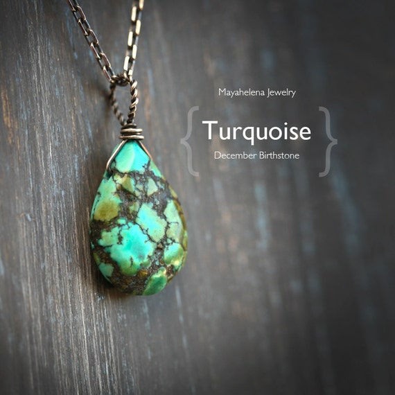 Tibetan Turquoise Solitaire Wire Wrapped Sterling Silver Necklace - December Birthstone