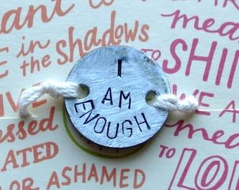 I Am Enough Penny Project Adjustable Cream String Bracelet