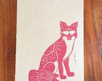 Journal: Foxy- block print kraft journal- 13 x 20 cm -96 eye care pages