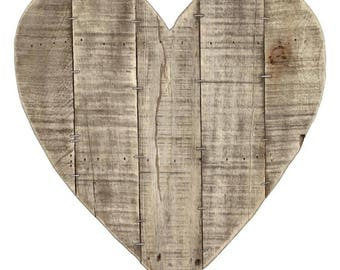 "14x14"" Reclaimed Wood Heart Shaped Pallet, Salvaged Rough Sawn Timber, Barnwood Blank Sign"