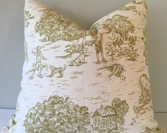 Pear Green Toile Throw Pillow Cover 18x18