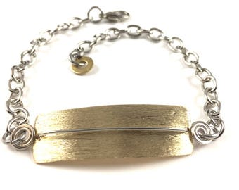 Handmade Bar Bracelet Small Everyday Jewelry Mixed Metal