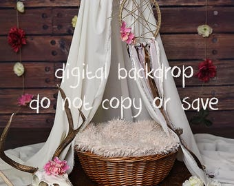 Digital background for newborn photography boho backdrop