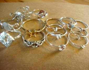 Dozen (Lot of 12) ring blanks mostly hand made sterling silver.  One is gold filled and another is vermeil CLEARANCE SALE 12 mountings