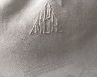 Wow...Lowered Price Set of 4 Exquisite Monogram MBA ? White on White Bath Damask, Greek Nude Bathers 26 x 26