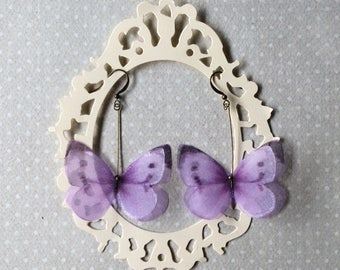 I Will Fly Away - Handmade Silk Organza Lilac Butterfly Earrings