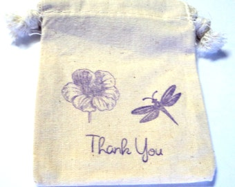 6 Muslin Bags, Purple Dragonfly and Flower,Gift Bags, Packaging, 3x4 Inches, Hand Stamped, Party Favor Bags