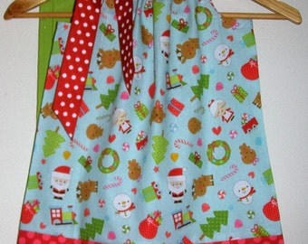 Christmas dress  pillowcase dress aqua  red Riley Blake   fabric size 3,6,9,12,18, months 2t,3t,4t,5t,6,7,8,10,12