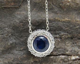 Sterling Blue Pendant Necklace CZ Vintage Jewelry Rhinestone Dainty Necklace N7572