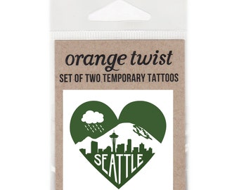 Seattle Heart Temporary Tattoos --Set of Two
