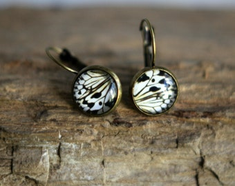Butterfly Wing Earrings, Wing Segment,  Glass Dome, White, Black, Antiqued Brass, Under 10, Stocking Stuffer