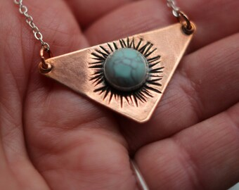 Copper and Turquoise Pendant, Copper Triangle, Turquoise Cabochon, Rustic, Boho Necklace, Bohemian Pendant, Gift for Her, Under 30