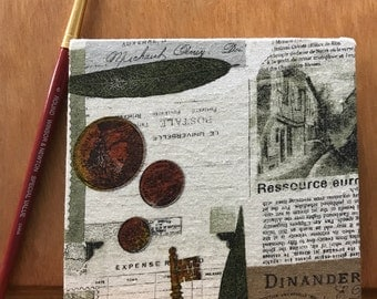 Newspaper old postcard stamps square accordion album - Polaroids, sketch, travel journal, notebook, watercolor