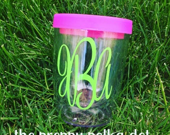 Personalized Monogram Stemless Wine Sipper Cup - 10 oz