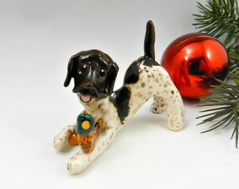 German Short Haired Pointer Christmas Ornament Figurine Pheasant Porcelain