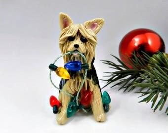 Silky Terrier Christmas Ornament Figurine Porcelain Clay Lights