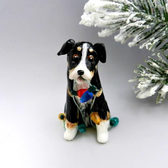 Shepherd Gold On Blue Silhouette Ornament: Australian Shepherd Tricolor Christmas Ornament By