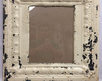 TIN Ceiling Metal Picture Frame Cream 11x14 Shabby Recycled chic 451-16