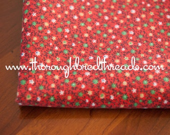 Daisies on Red- Vintage Fabric Bright Floral Whimsical New Old Stock Calico