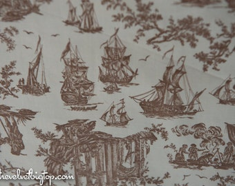 """Brown Scenic Toile- Vintage Fabric 50s 60s Historic Ships Sailing Colonial 36"""" wide"""
