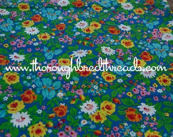 Happy Garden Floral- Vintage Fabric New Old Stock Colorful Wildflowers