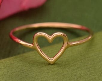 18k Rose Gold Plated Sterling Silver Open Heart Ring - Insurance Included