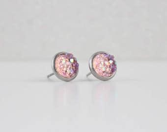 Pink Lemonade Druzy Crystal Earrings | ATL-E-164