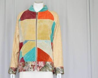velvet patchwork bomber jacket upcyled size S