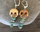 Carved skull and Turquoise earrings