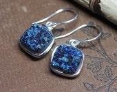 Druzy Square Earrings Iris Blue Sterling Silver Luxe Rustic Jewelry Blue Earrings