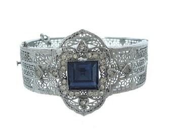 Art Deco Sapphire Filigree Bracelet, Vintage Designer JJ White Helgen Bangle, 1920s Fine Antique Art Deco Cuff, Antique Wedding Jewelry
