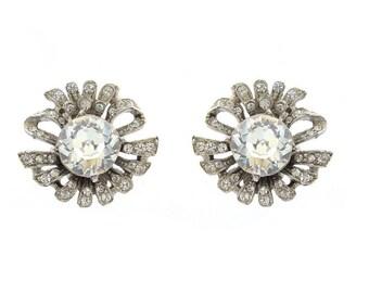 Vintage Rhinestone Earrings, Silver Craft Statement Wedding Jewelry, Rhinestone Rhodium Wedding Earrings, Bridal Earrings