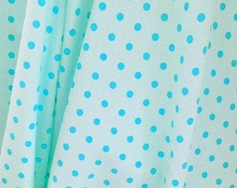 Aqua with aqua dots New cotton lycra knit 1 yard