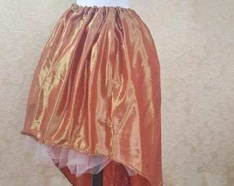 SALE BLACK FRIDAY Sale Orange Gold Shot Walking Skirt Tiered Long Victorian Skirt-One Size Fits All