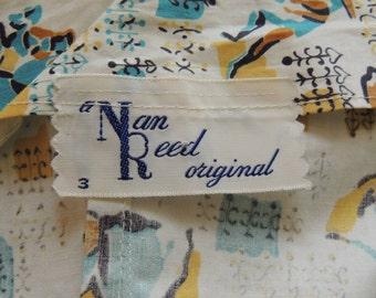 1950s Atomic Print NAN REED Original Halter, Full Skirt Sundress