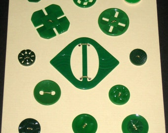 12 Vintage Green Buttons and a Buckle