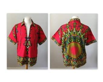 Vintage Mens Red Cotton Dashiki XL by Bou Boudina, Barbados