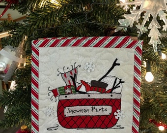 Quilted Mini Wall Hanging . . . Embroidered Basket  of  SNOWMAN PARTS . . . Metal Tree Hanger . . . Great Gift Idea