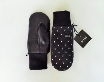 Mini63 polka dots wool and black leather kids mittens