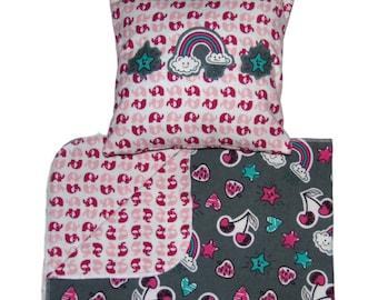 Organic - Rainbow Baby - Girls Blanket - Baby Blanket - Elephant Blanket - Pillow - Pink -  Nursery Blanket - Reversible Blanket - Punk Baby