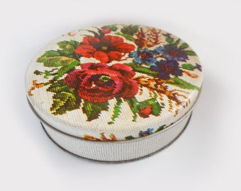 """Small Round Tin Needlepoint Flowers Pretty Tapestry Roses Pink Red Blue Storage Tin 6"""" Across Treasure Box Trinket Sewing Tin Rustic Decor"""