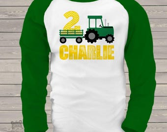 Tractor birthday shirt - green yellow chevron personalized birthday shirt - plow tractor MBD-008