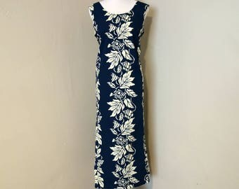 Vintage Hawaiian Dress, Dark Blue and Cream Cotton Fish and Plant Life Print Sleeveless Dress with Tie Back by Nui Nalu Hawaii, Sold As Is