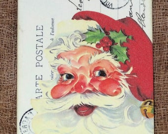 Retro Jolly  Santa Claus French Postcard Christmas Gift or Scrapbook Tags or Magnet #30
