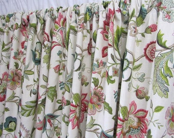 "Floral Curtains, Jewel Tone Window Curtains, Jacobean Floral, Rosey Red Teal Drapes, Custom Rod Pocket Curtain Panels, One Pair 50""W"