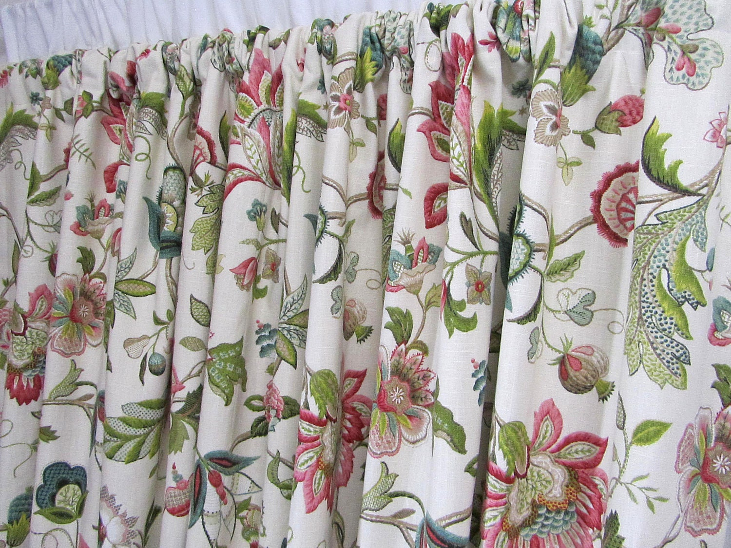 Bird curtain panels - Floral Curtains Jewel Tone Window Curtains Jacobean Floral Rosey Red Teal Drapes