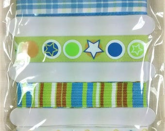 LR-136 Green and Blue Adhesive Craft Ribbon