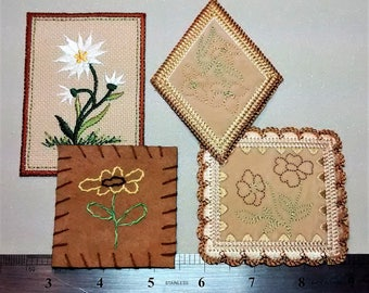 E-128 4 Burlap and Suede Floral Patches